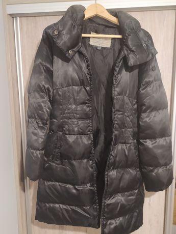 Długi płaszcz na zimę pikowany czarny M