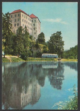pocztówka - Pieskowa Skała 1970 - zamek , autobus