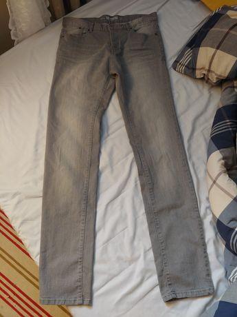 Szare/siwe spodnie slim męskie