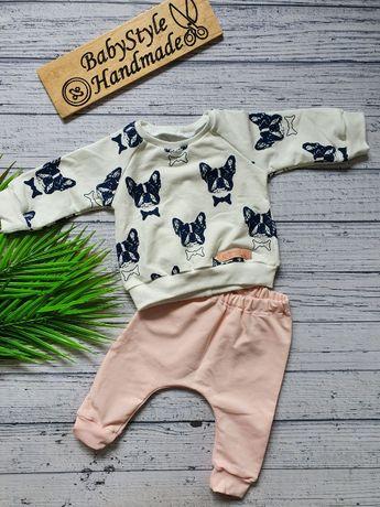 Dres dla dziecka bluza bluzka spodnie HANDMADE Buldogi Buldożki Pies 8
