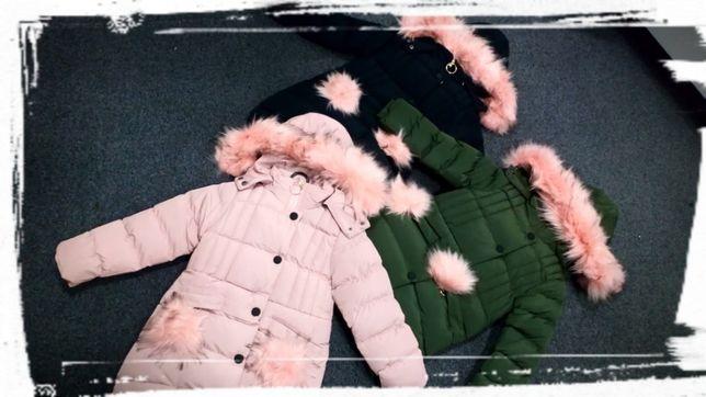 Nowa kurtka zimowa dla dziewczynki ciepła płaszcz 3 kol. 98-140 pompon