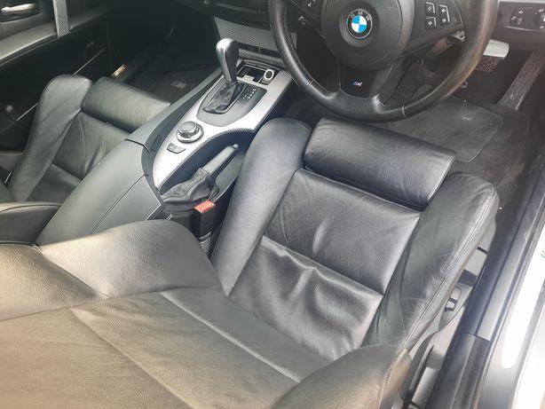Fotele Grzane Sportsize Czarne Skórzane BMW E60 STAN BDB Komplet boczk