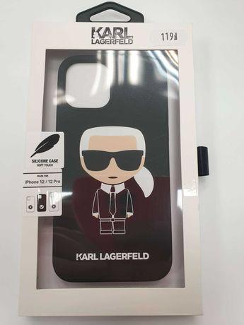 Etui KARL LAGERFELD iPhone 12 / 12 Pro KLHCP12MSLFKBK Fullbody Silicon