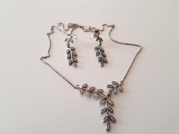 Pandora srebrne kolczyki i naszyjnik
