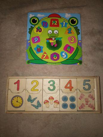 Деревянные игрушки, часики сортер, учим цифры розумний лис