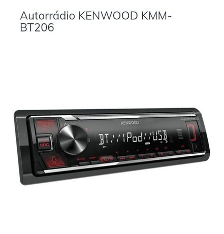 Autorrádio novo Kenwood KMM BT 206