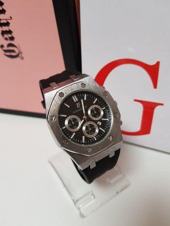 Zegarek męski AUDEMARS PIGUET srebrny na pasku gumowym  czarna tarcz
