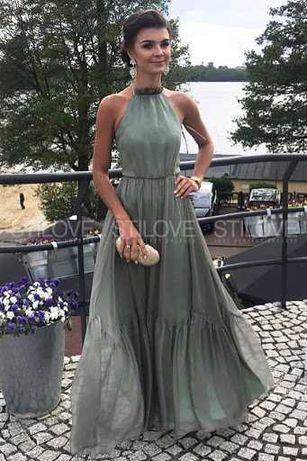 Sukienka Stilove dluga maxi zwiewna rozmiar 40 L zielona oliwkowa