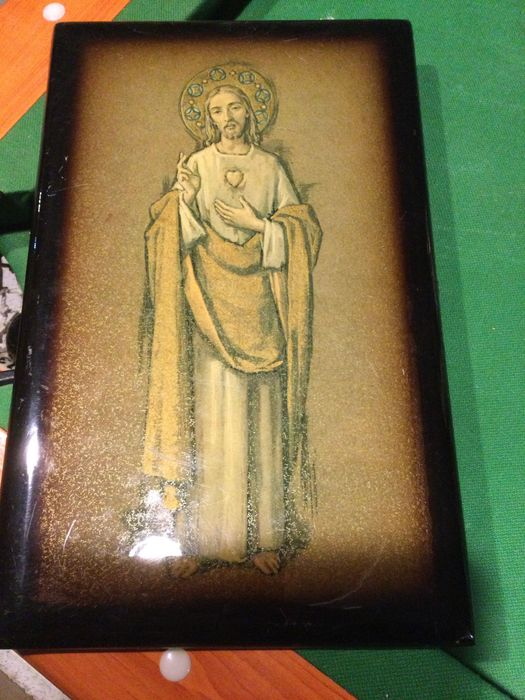 Quadro de Arte sacra muito Antigo 33 cm por 21 cm Vila Nova de Milfontes - imagem 1