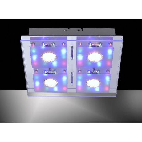 Lampa sufitowa plafon RGB pilot GU10 LED STEFAN Leuchten Direkt szkło