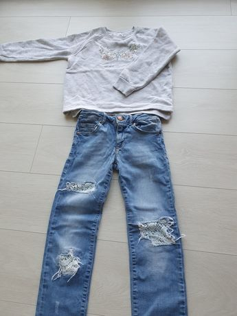 Spodnie jeansy (ZARA 128) + bluza (ZARA 128)