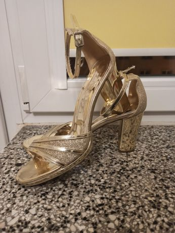 Złote  buty damskie sandały r. 39