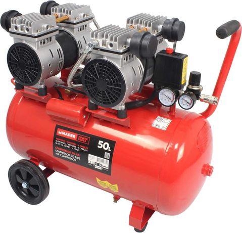 Compressor de Ar Silencioso - 50 Litros 2 Motores - 4 Cabeças