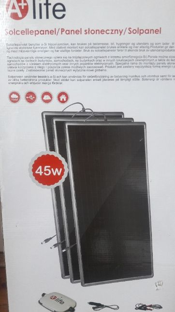 Zestaw 3 słonecznych paneli 45W z regulatorem napięcia