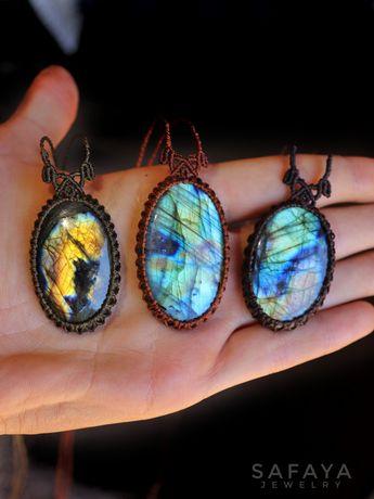 Labradorite pendentes colares naturais, pedras, boho, moda Tarot, yoga