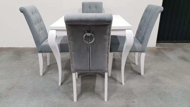Krzesło pikowane tapicerowane białe siwe z kołatką PRODUCENT modne