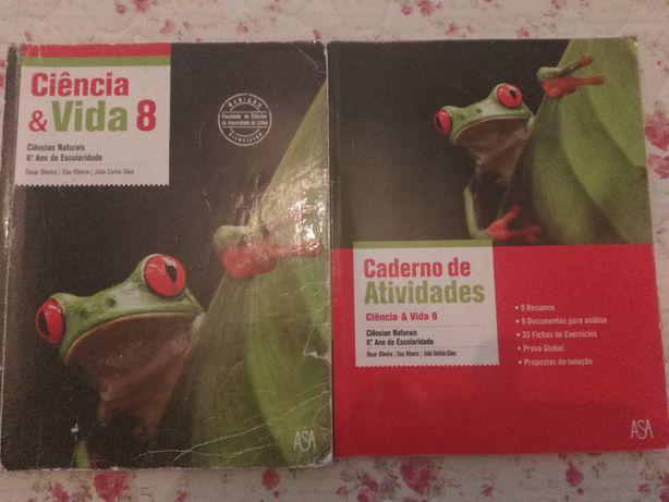 """Livro Ciencias do 8ºano """"Ciência & vida 8""""+caderno atividades- ASA"""