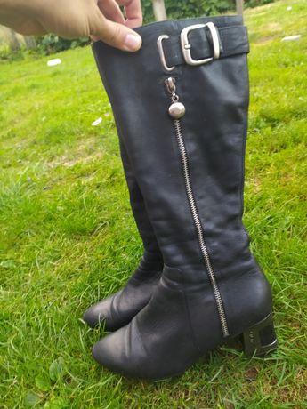 Кожаные сапоги на узкое голенище, шкіряні чоботи, демісезонні