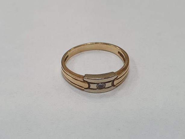 Piękny złoty pierścionek damski/ 2 kolory/ 585/ 2.46 gram/ R13/ DIA