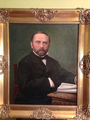 Stary portret arystokraty olej na płótnie XIX wiek staroć antyk