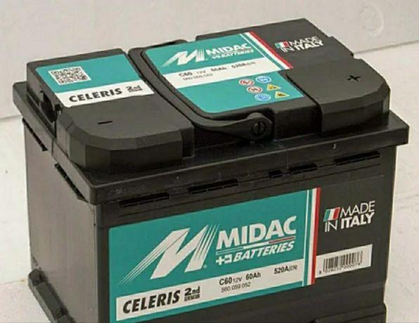 Аккумулятор 6СТ-60A MIDAC CELERIS, 12V, 60Ah (-/+) евро, Мидак Селерис