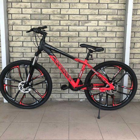 Велосипед спортивный горный 26дюймов на литых дисках Красный Shimano
