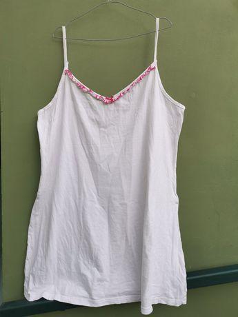 Biała koszula nocna na ramiączkach, piżama plus size 50, 52