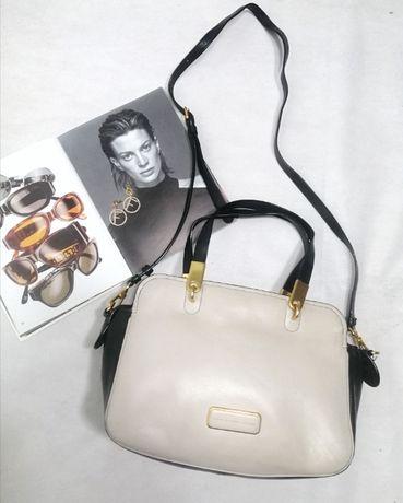 Кожаная вместительная сумка бежевая черная Marc Jacobs