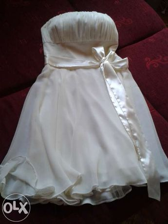 Sukienka ecru elegancka idealna na studniówkę, wesele, ślub