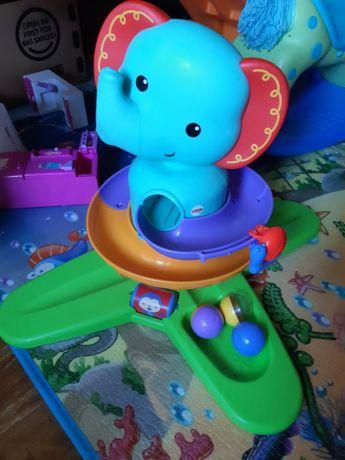Развивающий музыкальный слон Fisher prise с шариками