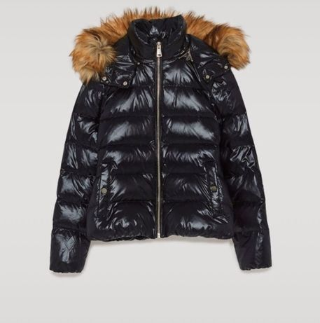Granatowa zimowa kurtka Zara puch futerko M L 40