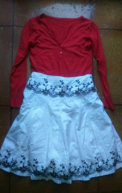 Bluzka,spódnica i sweterek w rozmiarze S