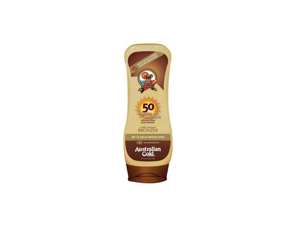 Australian Gold Sunscreen Lotion with Instant Bronzer SPF50 237ml