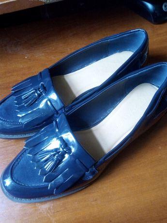 Туфли женские лоферы лаковые синие M&S Marks & Spencer Insolia