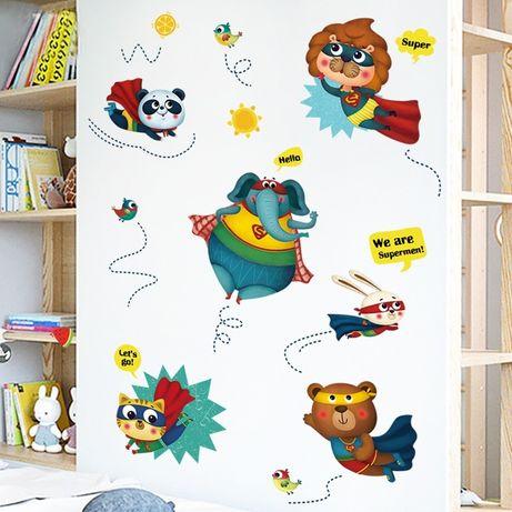 Наклейка на стену обои Супергерои кот мишка