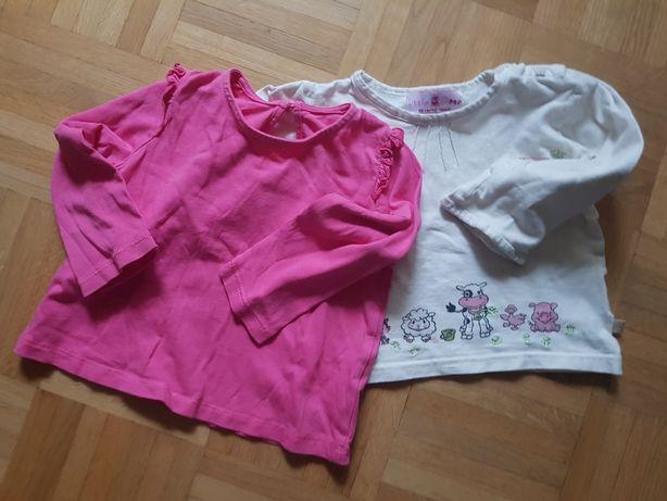 PAKA 2 urocze bluzki bluzeczki 12/18 mcy 86 cm stan idealny
