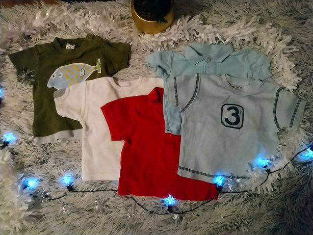 Zestaw 5 szt. koszulek / bluzeczek kr. rękaw dla niemowląt rozm. 62