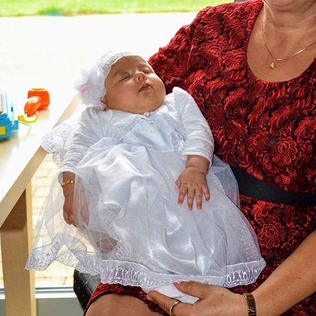 Sukienka, komplet, ubranka do chrztu dla dziewczynki, rozmiar 62