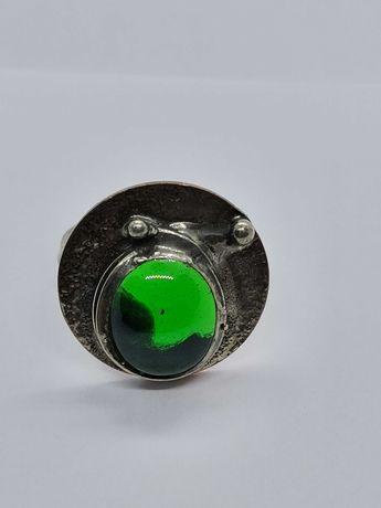 pierścionek artystyczny z metaloplastyki Cu/Ag Eremit