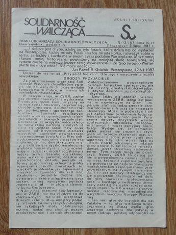 """""""Solidarność Walcząca. Dwutygodnik"""" 13 (1987) - drugi obieg"""