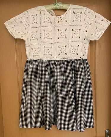 Платье ASOS с кружевным верхом и юбкой в клетку, размер 38
