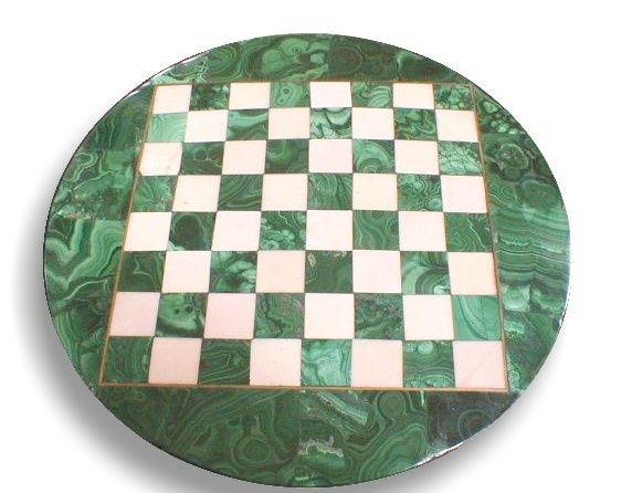Jogo de xadrez sem peças malaquite 23,5x0,8cm