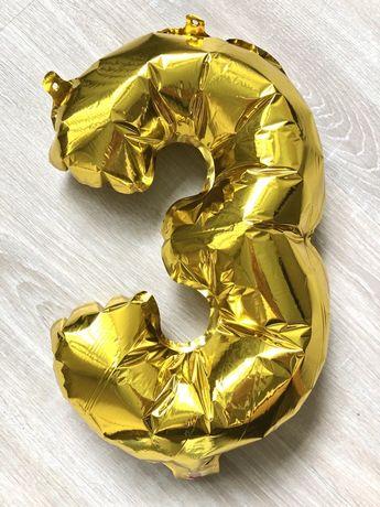 Фольгированные шары-цифры, три годика, цифра 3, шары на День рождения