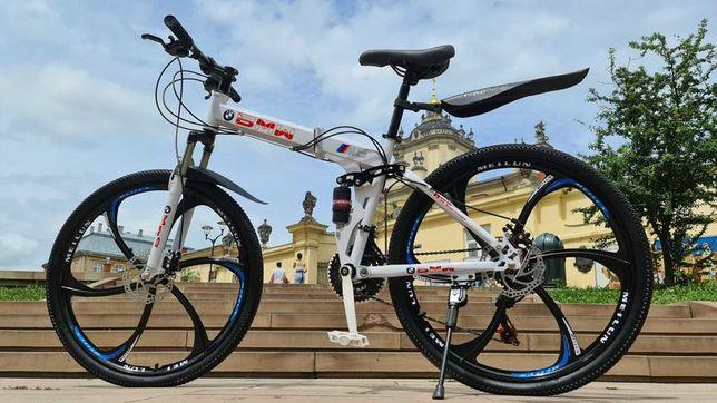 """Горный велосипед BMW BLACK WHITE на литых дисках 26"""" складной N0060"""