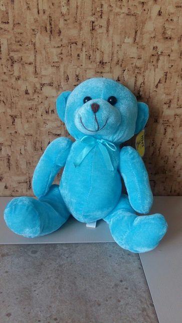 НОВАЯ. Мягкая игрушка. Голубой мишка.Высота 28 см.