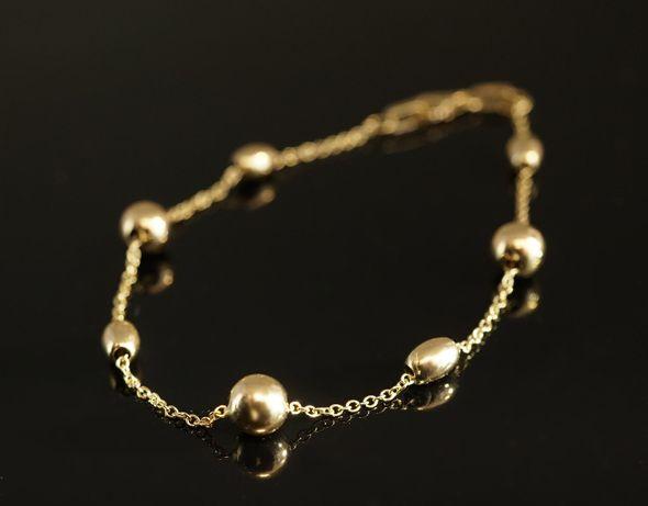 Złoto 585-złota bransoletka damska z kuleczkami