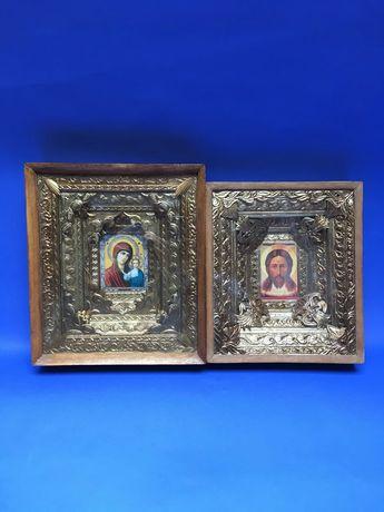 Венчальные иконы в деревянной раме золотистые до 30 см свадебные иконы