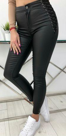 Woskowane spodnie wiązane