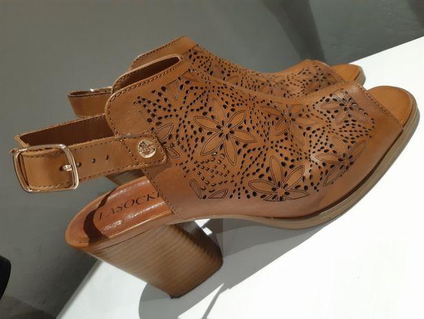 Sandały Lasocki skóra licowa r.39 ażurowe camel