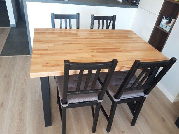 Stół drewniany bukowy 120x80x3 rozkładany loft metalowe nogi salon